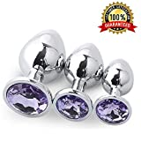 Stainless Steel Jeweled Sexy Stimulation Toys for Adult (3PCS Light Purple)