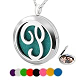 Chaomingzhen Essential Oil Necklace Aromatherapy Diffuser Pendant Letter P Round Kids Boys Picture Locket Women