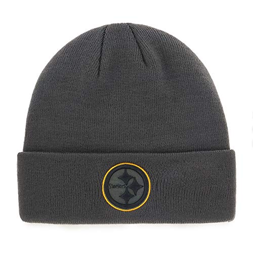 OTS NFL Pittsburgh Steelers Male Raised Cuff Knit Cap, Charcoal, One Size