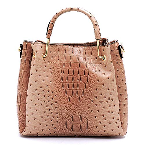 (Vegan Faux Leather Ostrich Croco Embossed Crossbody Medium-Small Handbags with Metal Top Handle (Blush))
