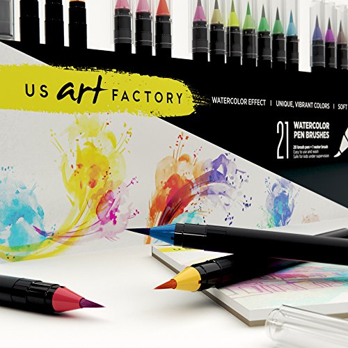 US Art Factory Watercolor Markers – Brush pens with Soft, Flexible Tip | BONUS Watercolor Paper Pad | 20 Vibrant Color Brushes For Painting & Lettering | BONUS E-book and Practice Sheets Photo #5