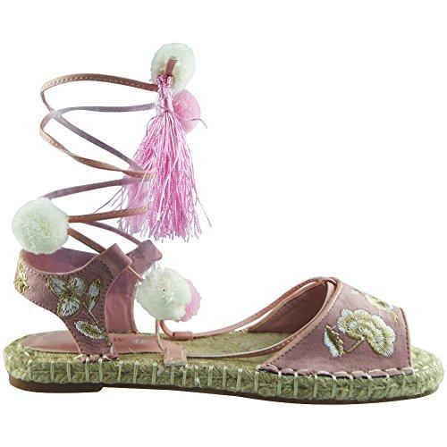 Da donna Allacciare Pelliccia Pom Pom Espadrillas Scarpe Sandali Dimensione 36-41 Rosa
