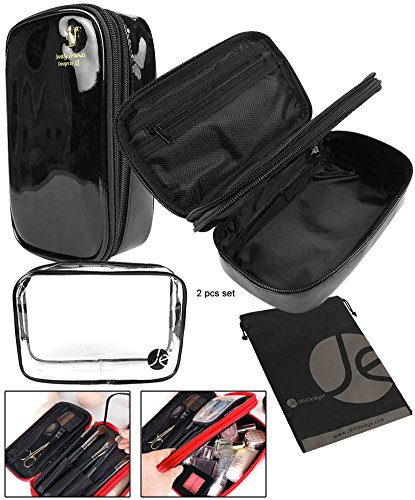 JAVOedge  Black Bold Colored Double Zipper Cosmetic Travel B