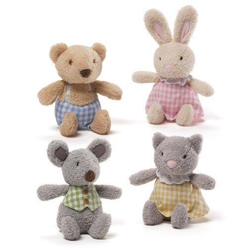 Enesco Gund Kids Baby Plush Mini Meadow Rattle Set of 4 Kids (Gund Mini Plush)