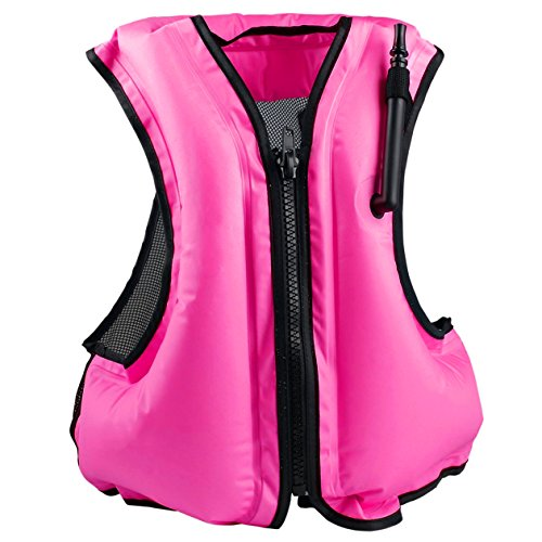 Faxpot Inflatable Life Jacket Adult Swimming Vest for Snorkeling Suitable for 80-220 lbs (Pink)