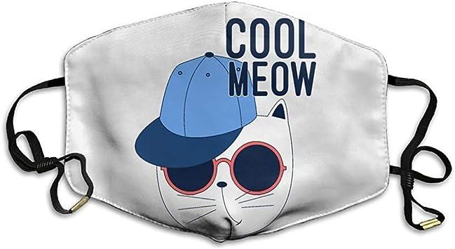 Mascarillas Unisex Cool Meow Cat con Hip Hop Gorras Planas Gafas ...