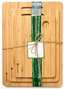 #1 Best Bamboo Cutting Board Set. A Set of 3 Chopping Boards made out of ♻ Eco-friendly ♻ and Natural Bamboo. These Strong Wood Cutting Boards are Light Weight yet Durable by Premium Bamboo
