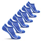 MIRMARU 6 Pairs Ultra Lite Athletic No Show Running Socks for Men and Women (450L, ROYALBLUE)