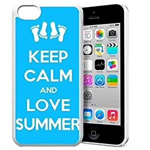 Keep Calm and Love Summer Pattern HD Durable Hard Plastic Case Cover for iPhone 5c Design By GXFC Case