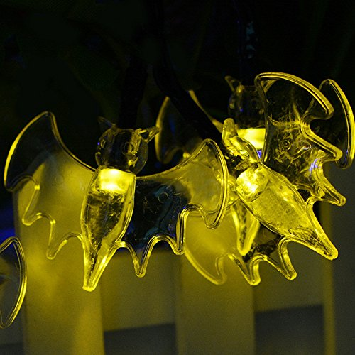 Kariwell Celebration Solar Light - Halloween Bats 30 LED Lights Outdoors Waterproof Festive Decorations Hanging Solar Light for Home School Hotel Kari-13 (A)]()