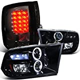 Spec-D Dodge Ram Glossy Black Halo Led Projector Headligh...