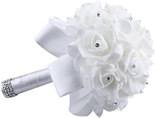 Tree-on-Life White Rose Bride Holding Bouquet Simulation Foam Flowers with Crystal Diamond Ribbon Artificial Bouquet Wedding Supplies