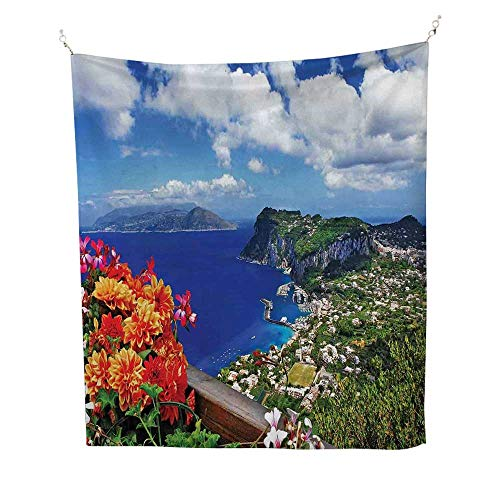 - Islandcool tapestryScenic Capri Island 57W x 74L inch Tapestry for wallItaly Mountain Houses Flowers View from Balcony Landmark
