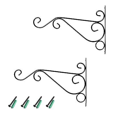 2 Pack Hanging Plant Bracket 12 Inch Metal Planter Wall Hanger Hook Indoor Outdoor for Hanging Bird Feeders, Lanterns, Planters, Wind Chimes, Ornaments with Screws (11.8in/30cm) : Garden & Outdoor