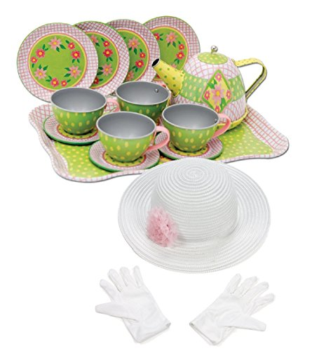 Schylling Floral Tin Tea Set in a Case with Fun Express Polyester Tea Party Hat and Gloves - Case Tin Set