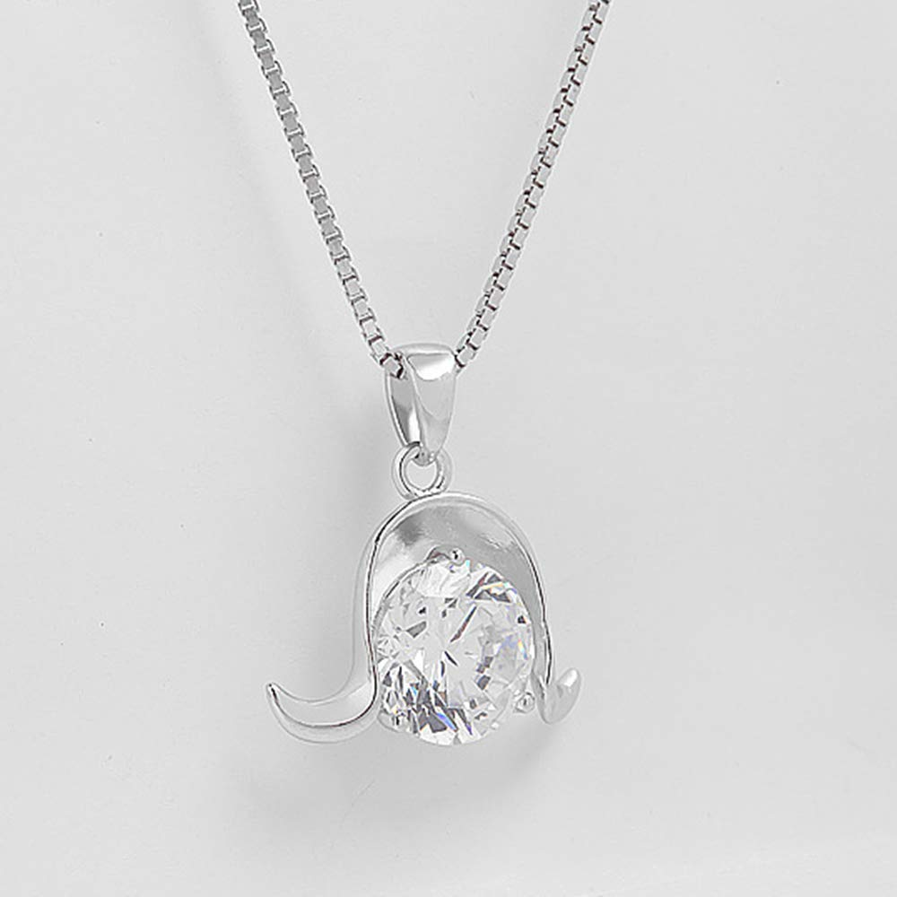 Onefeart Sterling Silver Pendant Necklace for Women Round Cubic Zirconia Aries Pendant with Chain Anti-Fade 45CM Silver