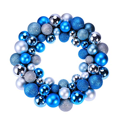 Happyyami Christmas Ball Wreath Garland Ornaments Glitter Xmas Tree Balls Decoration Holiday Party Front Door Hanging Decoration Silver Blue (Christmas Bauble Wreath Silver)