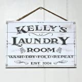 Artblox Personalized Rustic Laundry Room Wood Sign Home Decor – Vintage Custom Name and Established Year, Premium Pine Wood Farmhouse Style Wooden Wall Art Country Pallet Plaque 8×12 – White