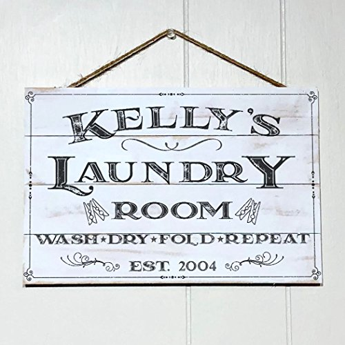 Artblox Personalized Rustic Laundry Room Wood Sign Home Decor - Vintage Custom Name and Established Year, Premium Pine Wood Farmhouse Style Wooden Wall Art Country Pallet Plaque 8x12 - White