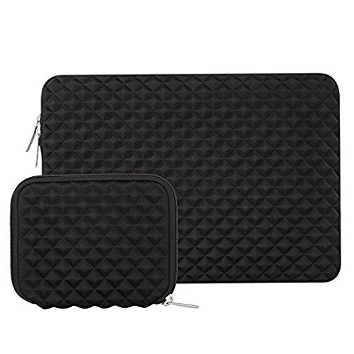 Mosiso Protective Laptop Sleeve for 15 Inch New MacBook Pro with Touch Bar A1707 2017 / 2016, Also Fit 14 Inch Notebook with Small Case, Shock Resistant Diamond Foam Water Repellent Lycra, Black