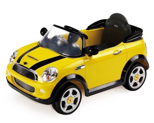 Biemme 1022G - Auto Elettrica Mini Cooper S con Radiocomando, 6 Volt, 101x60x53 cm, Giallo