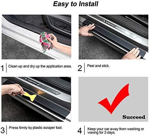 red Carbon Fiber Vinyl Sticker Car Door Sill Protector Scuff Plate For Accord Car Accessories