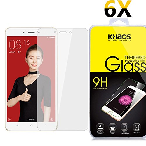 [6-Pack] Khaos For Xiaomi Redmi 4X HD Clear Tempered Glass Screen Protector with Lifetime Replacement Warranty
