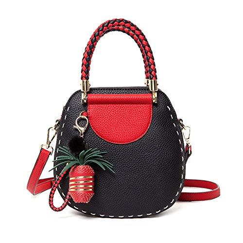 portatile moda piccola tessuto borsa materiale PU Lychee borsa colore Borsa tracolla tesa alla moda tascabile nero 5qEFxw0wB