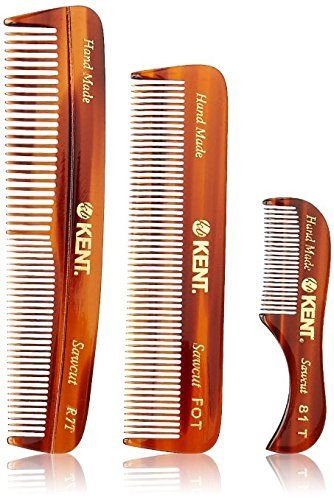 Kent Handmade Combs for Men Set of 3 - 81T, FOT and R7T - For Hair, Beard, and Mustache Care Kit, Best For Men, Pocket and Travel