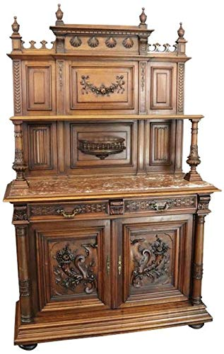 EuroLuxHome Server Sideboard Antique French Renaissance 1890 Carved Walnut Cornucopia Marble