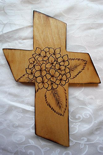 Wood Cross - Hydrangea