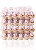 (24 Pack x 4 Sets) STACKnGO Carrier Holds 24 Standard Cupcakes - Strongest Cupcake Boxes, Tall Dome Detachable Lid, Clear Plastic Disposable Containers, Storage Tray, Travel Holder, Regular Muffins