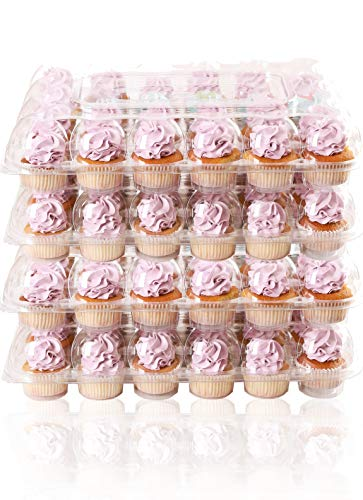 (24 Pack x 4 Sets) STACKnGO Carrier Holds 24 Standard Cupcakes - Strongest Cupcake Boxes, Tall Dome Detachable Lid, Clear Plastic Disposable Containers, Storage Tray, Travel Holder, Regular Muffins (4ct Plastic Cupcake Containers)