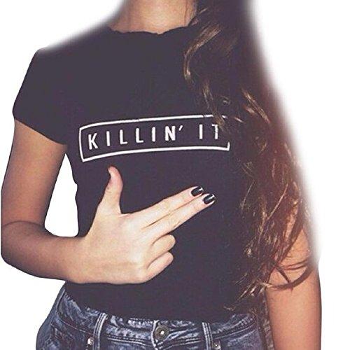 Lisingtool Women Letter Printing Short Sleeve Cotton Blouse Tops T-Shirt (3XL)