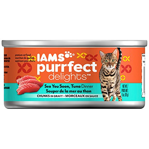 IAMS PURRFECT DELIGHTS Chunks Adult Wet Cat Food, Seafood, 3