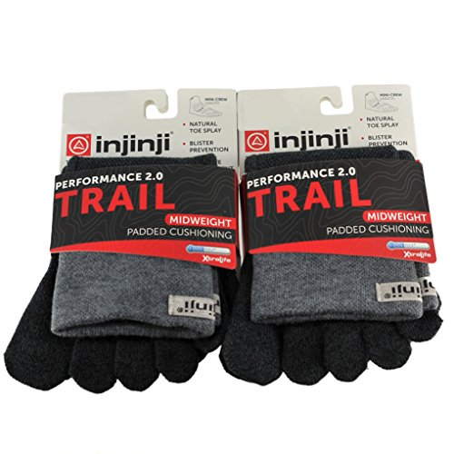 Injinji Unisex Trail Midweight Padded Cushioning Mini Crew Toesocks Bundle Gr...