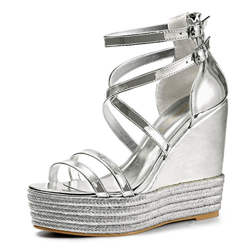 Allegra K Women's Espadrille Crisscross Strappy Platform Silver Wedges Sandals 7 M US