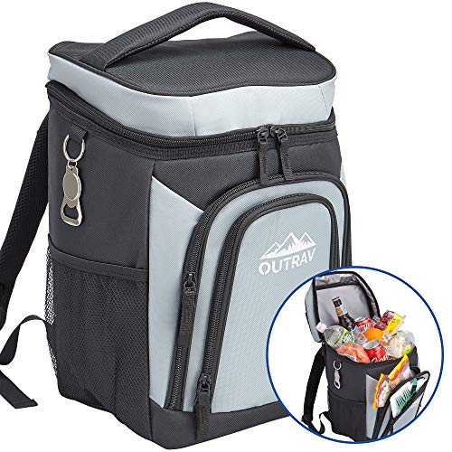 Outrav Grey Backpack Cooler Bag with Bottle Opener – Fully Insulated Thermal 16 Can Tote - Padded...