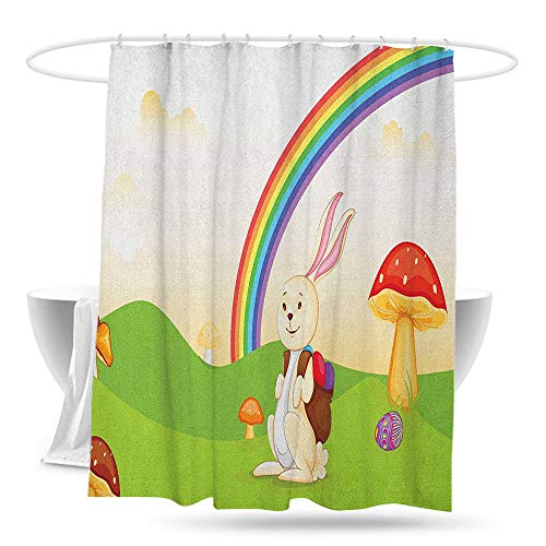 jifuhongmaoyi Waterproof Bathtub Curtain Mushroom Bunny with Easter Egg Under Rainbow Happy Rabbit in Nature Kids Theme Fun Design Shower Curtains in Bath 59in×70in Multicolor (Best Way To Dye Greek Easter Eggs)