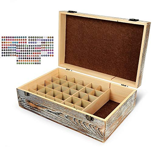 Essential Oil Box Organizer, Holds 30 Bottles (Sizes 5-15ml & 10ml Roller Balls) Easy Carrying Essential Oil Case Storage with FREE EO LABELS (rustic brown)