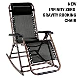 PARTYSAVING Infinity Zero Gravity Rocking Chair Outdoor Lounge Patio Folding Reclining Chair GPL1269, Black For Sale