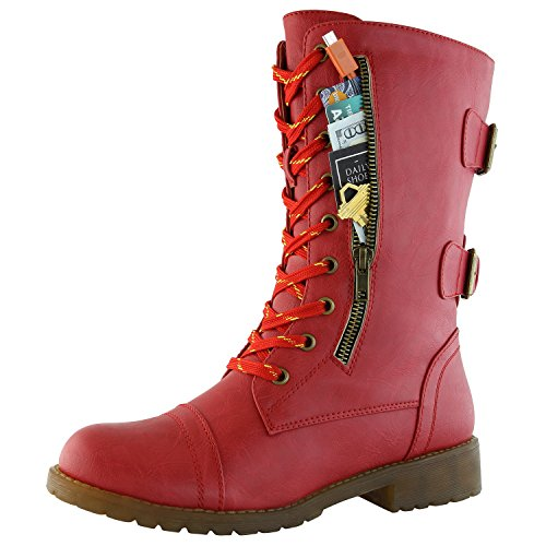 High Heel Hook - DailyShoes Women's Combat Boot Ankle Mid Calf Low Heel Lace Up Zip Pocket Buckles Bootie Fashion Hook Round Toe High Hidden Knee Exclusive Credit Card Boots Red,pu,5