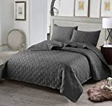 quilt for queen bed - Luxury 3-Piece Reversible Quilt Set with Shams, as Bedspread/ Coverlet/ Bed Cover, Solid Steel Grey, Full/Queen Size( 92