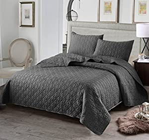 Exclusivo Mezcla Luxury 3-Piece Reversible Quilt Set with Shams, as Bedspread/Coverlet/Bed Cover, Solid Steel Grey, Full/Queen Size(92