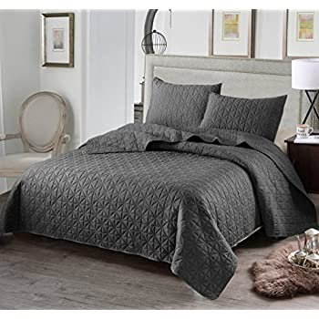 "Luxury 3-Piece Reversible Quilt Set with Shams, as Bedspread/ Coverlet/ Bed Cover, Solid Steel Grey, Full/Queen Size( 92""X88"") -Soft, Lightweight and Hypoallergenic"