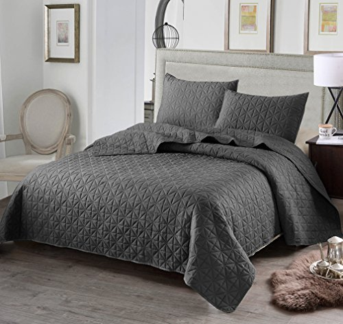 Luxury 3-Piece Reversible Quilt Set with Shams, as Bedspread/ Coverlet/ Bed Cover, Solid Steel Grey, Full/Queen Size( 92