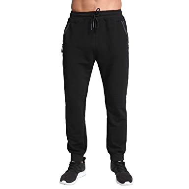 be227344 Tansozer Mens Joggers Slim Fit Tracksuit Bottoms Zip Pockets: Amazon.co.uk:  Clothing
