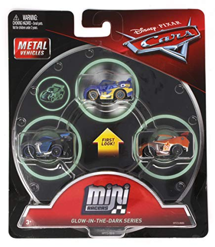 (Disney Cars Mini Racers 3 Pack Glow in The Dark Series with Danny Swervez, Jackson Storm and Tim Treadless)