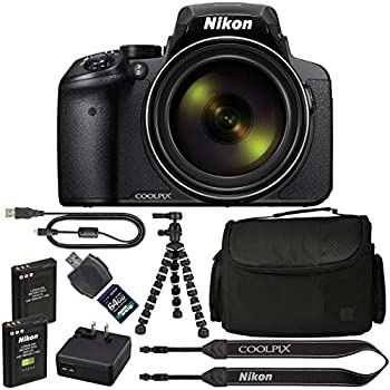Nikon COOLPIX P900 Digital Camera: with 83x Optical Zoom and Built-in Wi-Fi(Black) + 64GB 1200X SDXC Card + 2 EN-EL23 Batteries + Case + Flexible ...