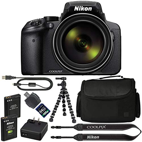 Nikon COOLPIX P900 Digital Camera: with 83x Optical Zoom and Built-in Wi-Fi(Black) + 64GB 1200X SDXC Card + 2 EN-EL23 Batteries + Case + Flexible Tripod + Pro Bundle: International Version (For Cameras Nikon Digital Tripods)